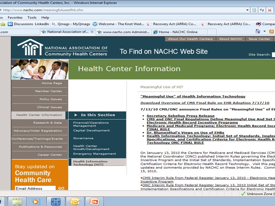 To Find on NACHC Web Site