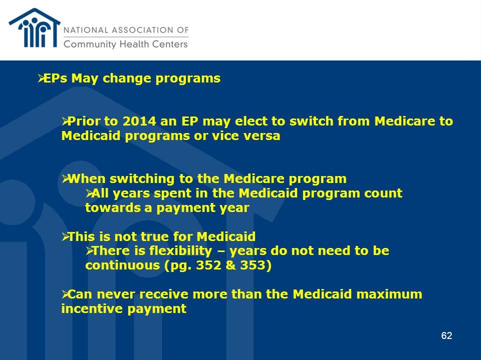 EPs May change programs