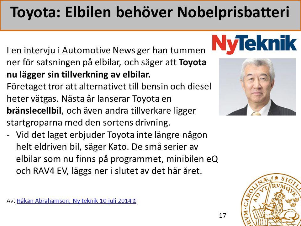 Toyota: Elbilen behöver Nobelprisbatteri