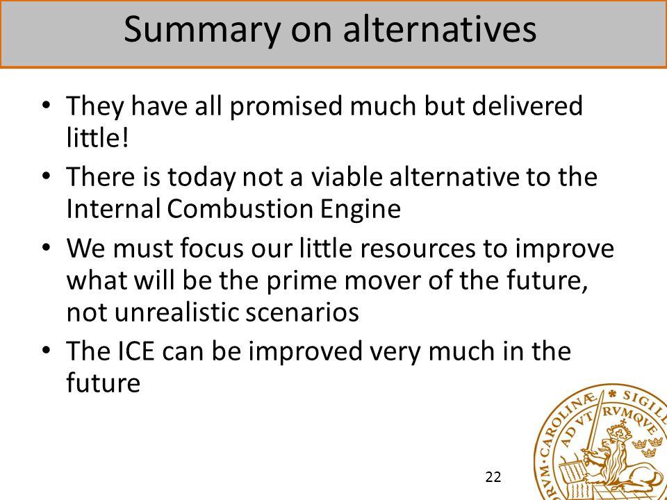 Summary on alternatives