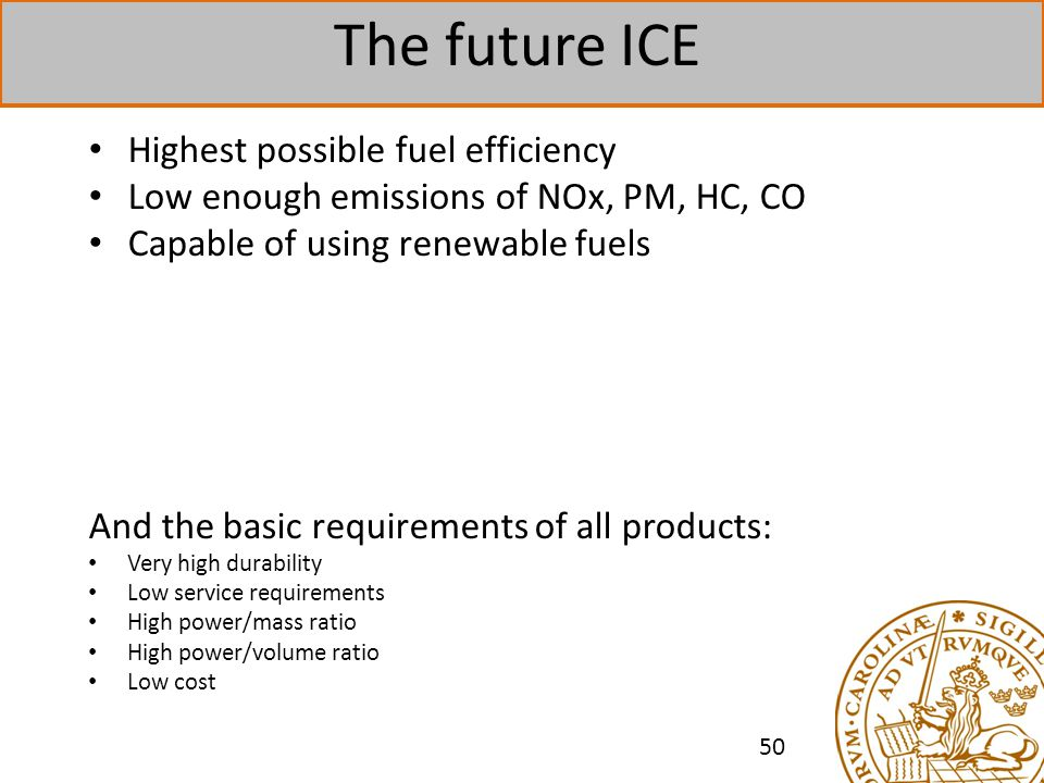 The future ICE Highest possible fuel efficiency