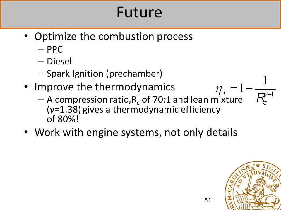 Future Optimize the combustion process Improve the thermodynamics