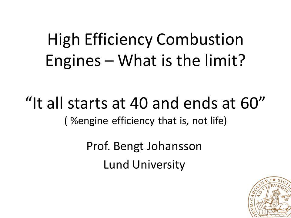 Prof. Bengt Johansson Lund University