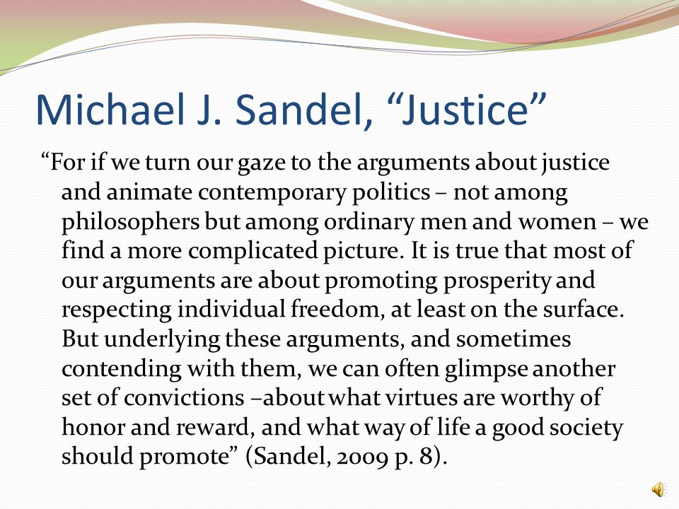 Michael J. Sandel, Justice