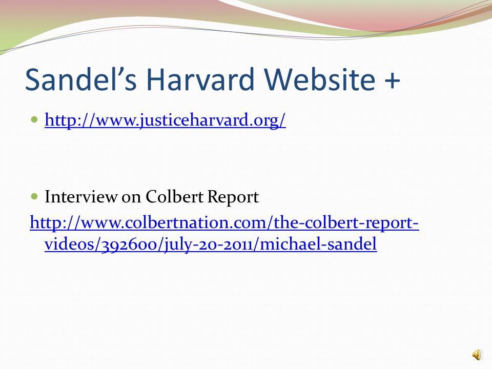 Sandel's Harvard Website +
