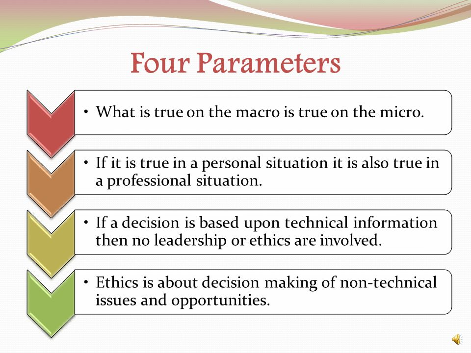 Four Parameters What is true on the macro is true on the micro.