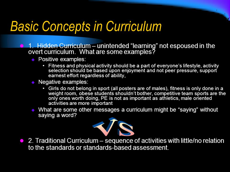 Basic Concepts in Curriculum