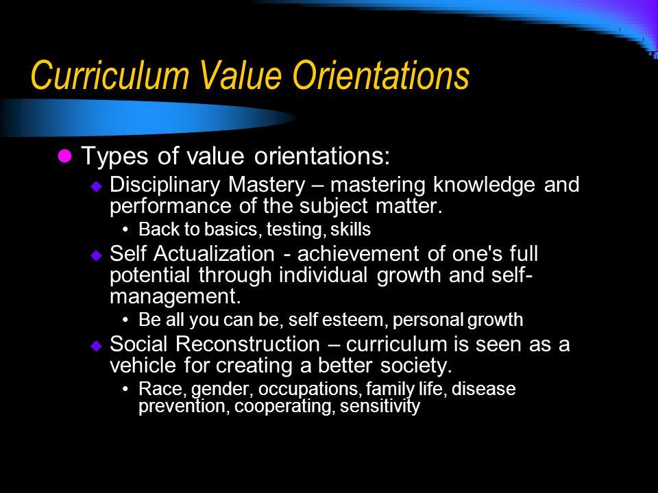 Curriculum Value Orientations