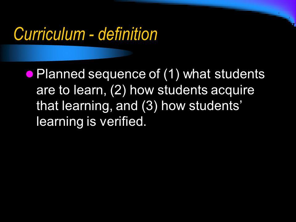 Curriculum - definition