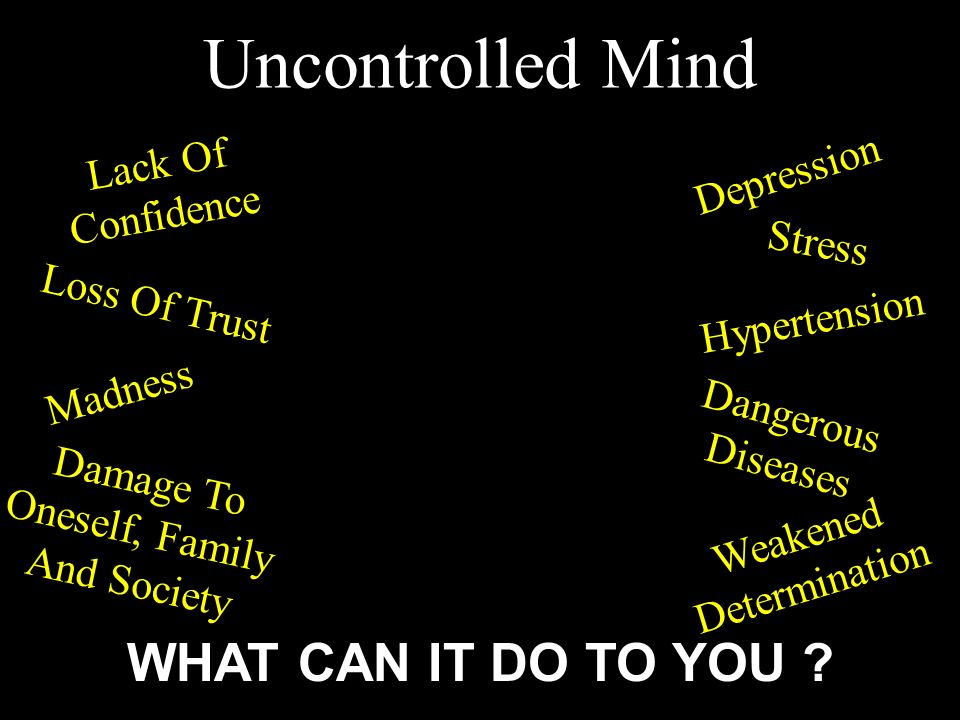 Uncontrolled Mind WHAT CAN IT DO TO YOU Lack Of Confidence