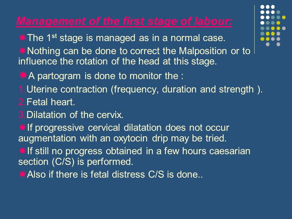 Management of the first stage of labour: