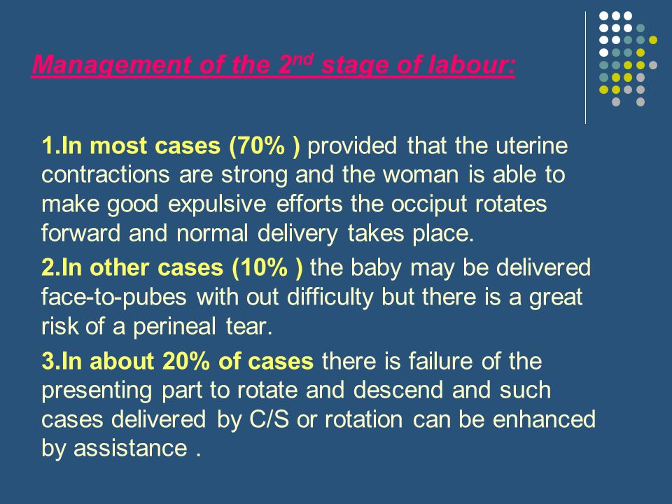 Management of the 2nd stage of labour:
