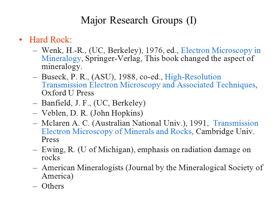 Major Research Groups (I)