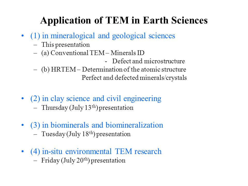 Application of TEM in Earth Sciences
