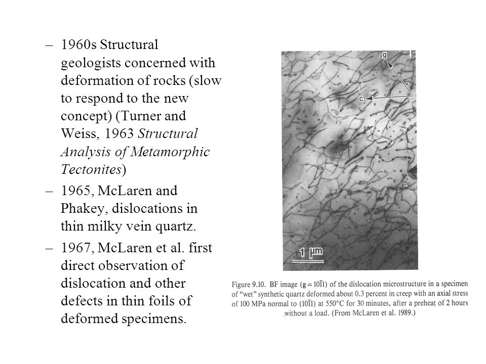 1960s Structural geologists concerned with deformation of rocks (slow to respond to the new concept) (Turner and Weiss, 1963 Structural Analysis of Metamorphic Tectonites)