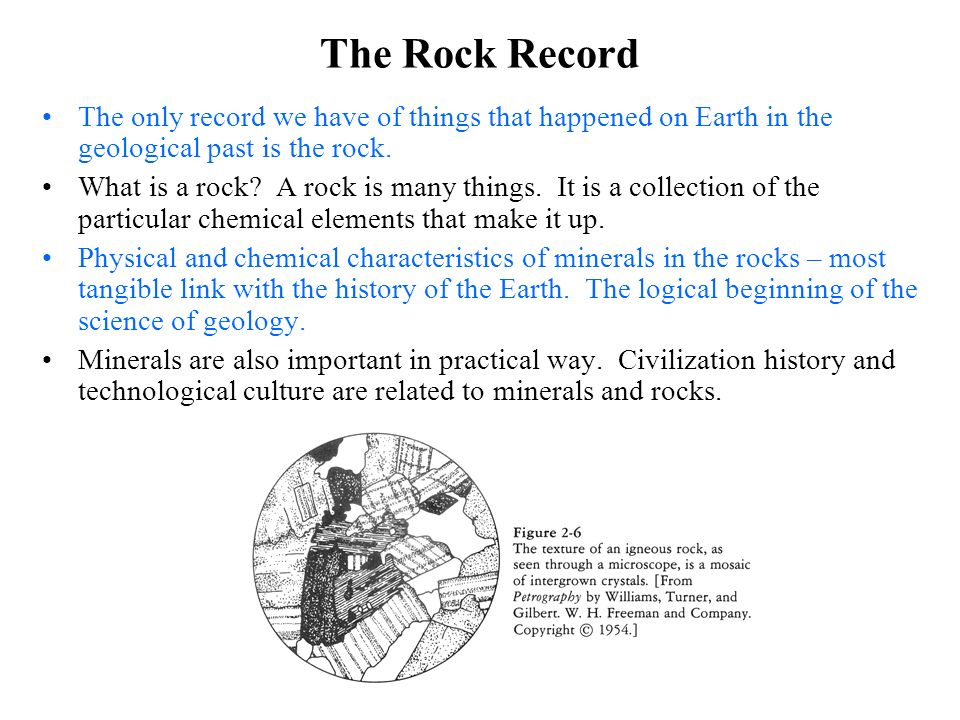 The Rock Record The only record we have of things that happened on Earth in the geological past is the rock.