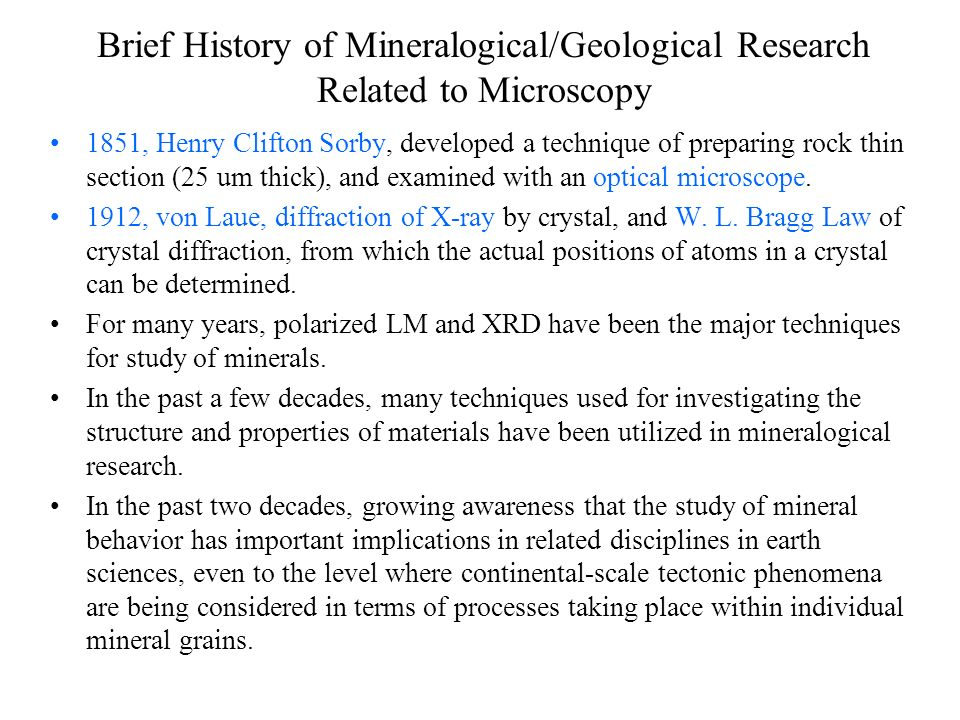 Brief History of Mineralogical/Geological Research Related to Microscopy