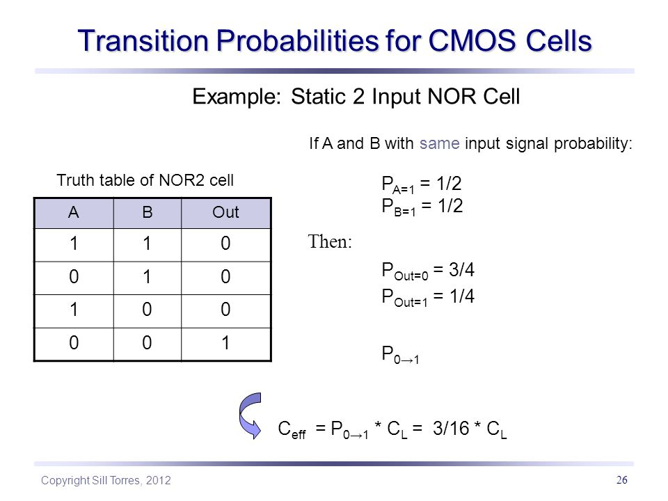 Transition Probabilities for CMOS Cells