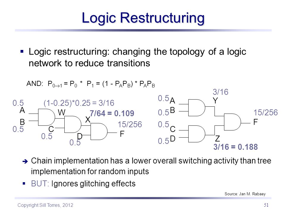 Logic Restructuring Logic restructuring: changing the topology of a logic network to reduce transitions.