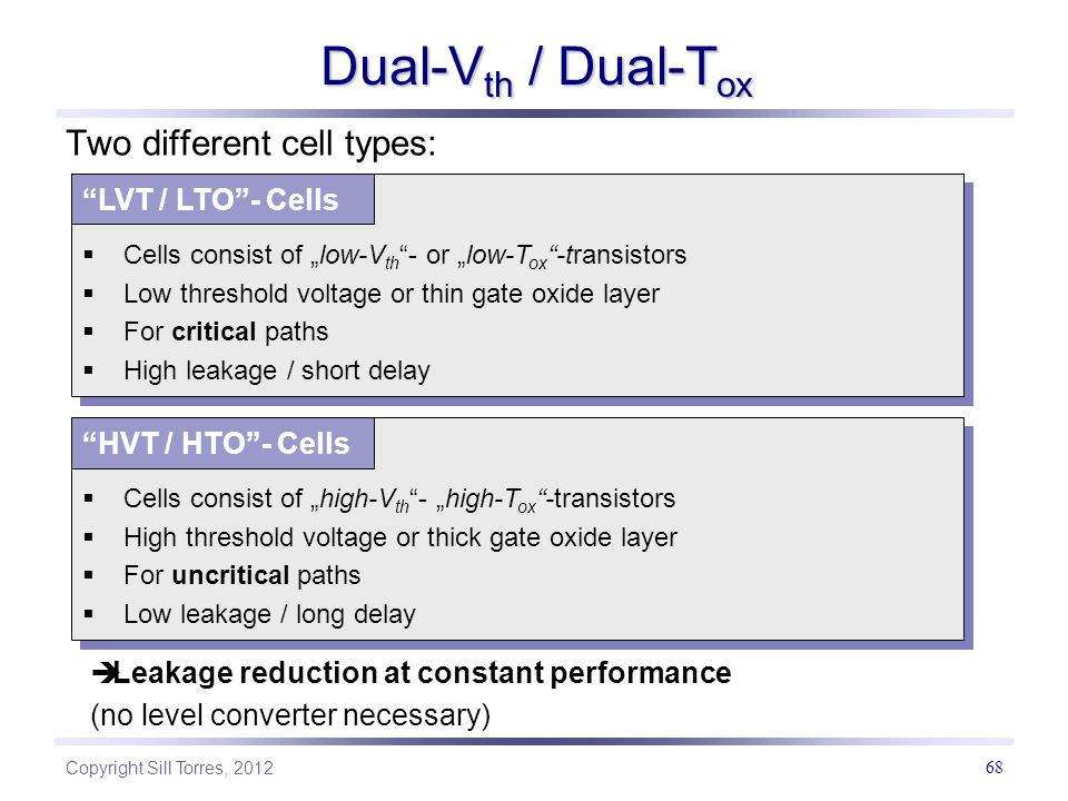 Dual-Vth / Dual-Tox Two different cell types: LVT / LTO - Cells
