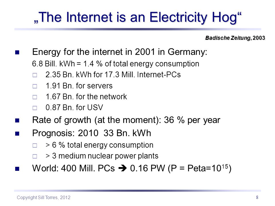 """The Internet is an Electricity Hog"