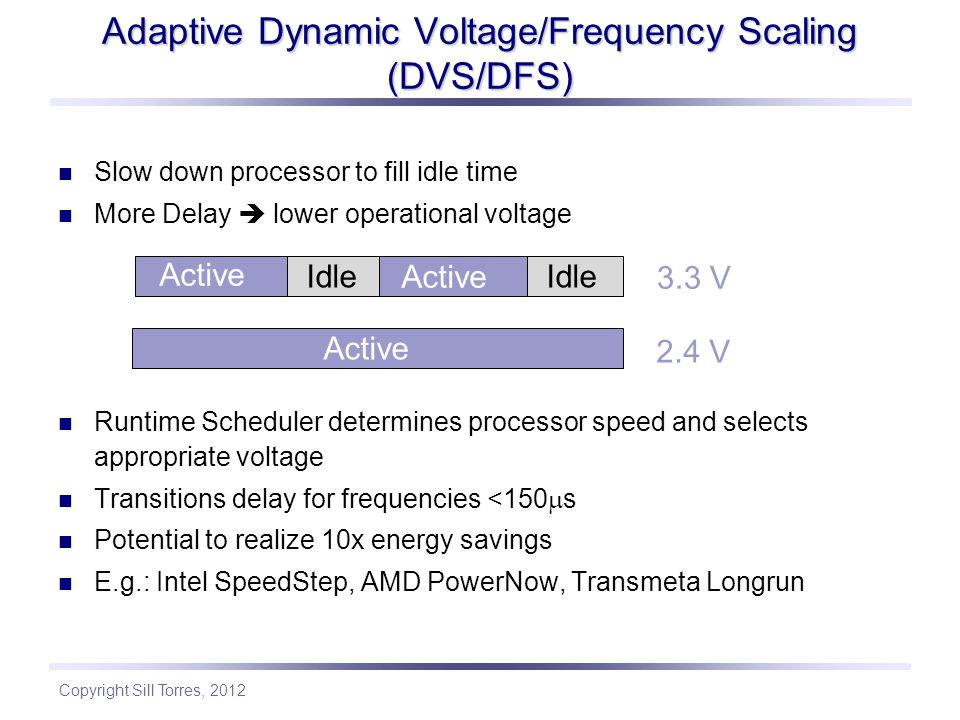 Adaptive Dynamic Voltage/Frequency Scaling (DVS/DFS)