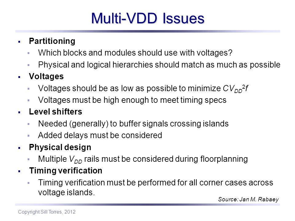 Multi-VDD Issues Partitioning
