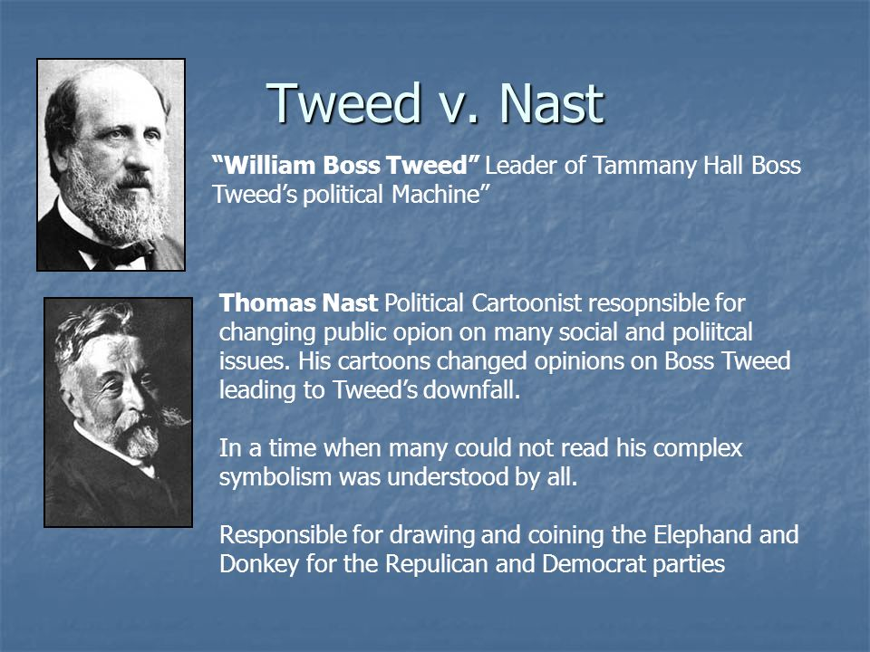 Tweed v. Nast William Boss Tweed Leader of Tammany Hall Boss Tweed's political Machine
