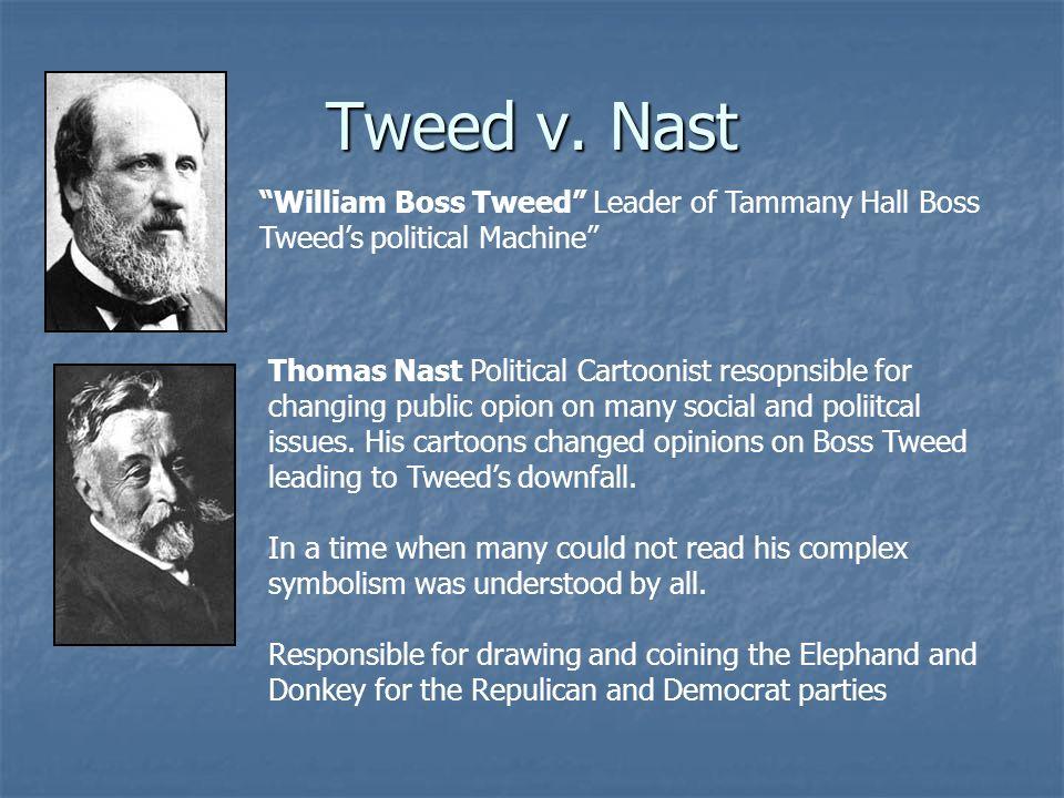 Tweed v. Nast William Boss Tweed Leader of Tammany Hall Boss Tweed's political Machine