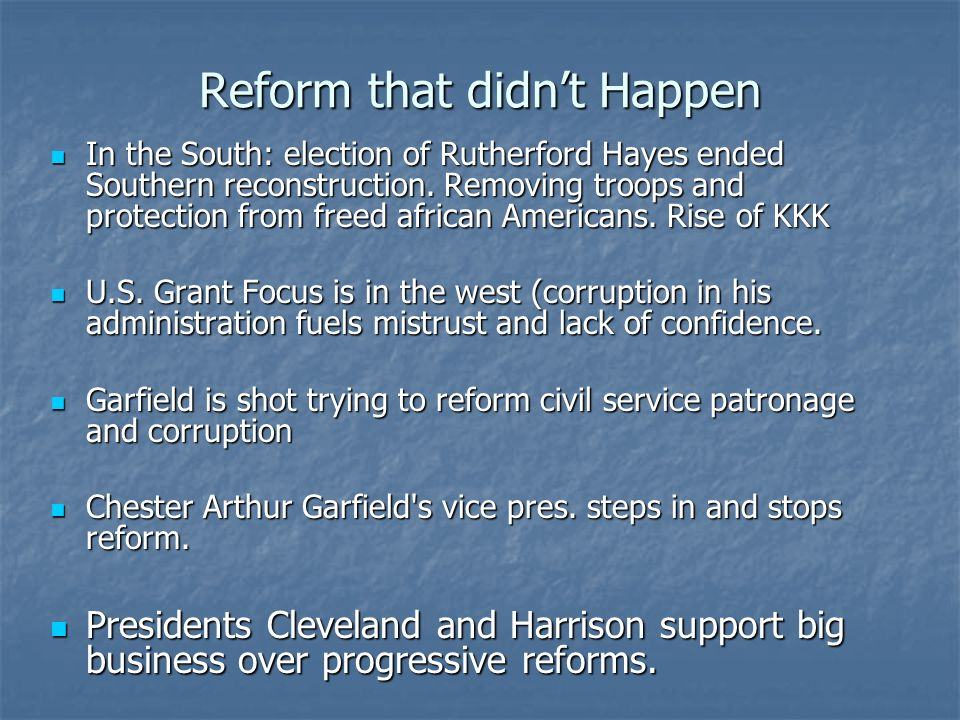 Reform that didn't Happen