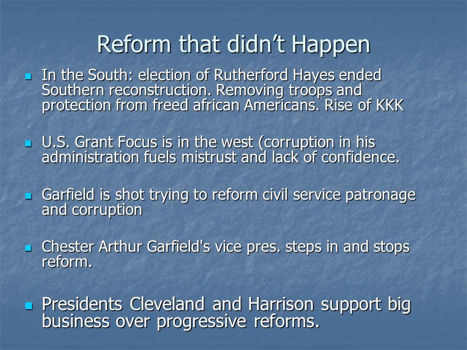 Reform that didn't Happen