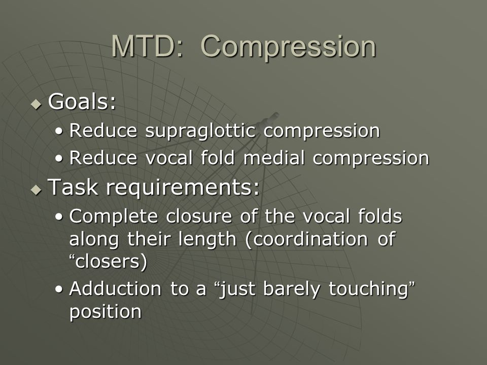 MTD: Compression Goals: Task requirements: