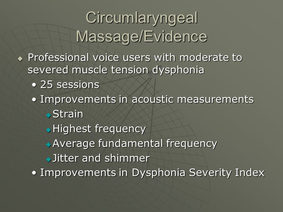 Circumlaryngeal Massage/Evidence