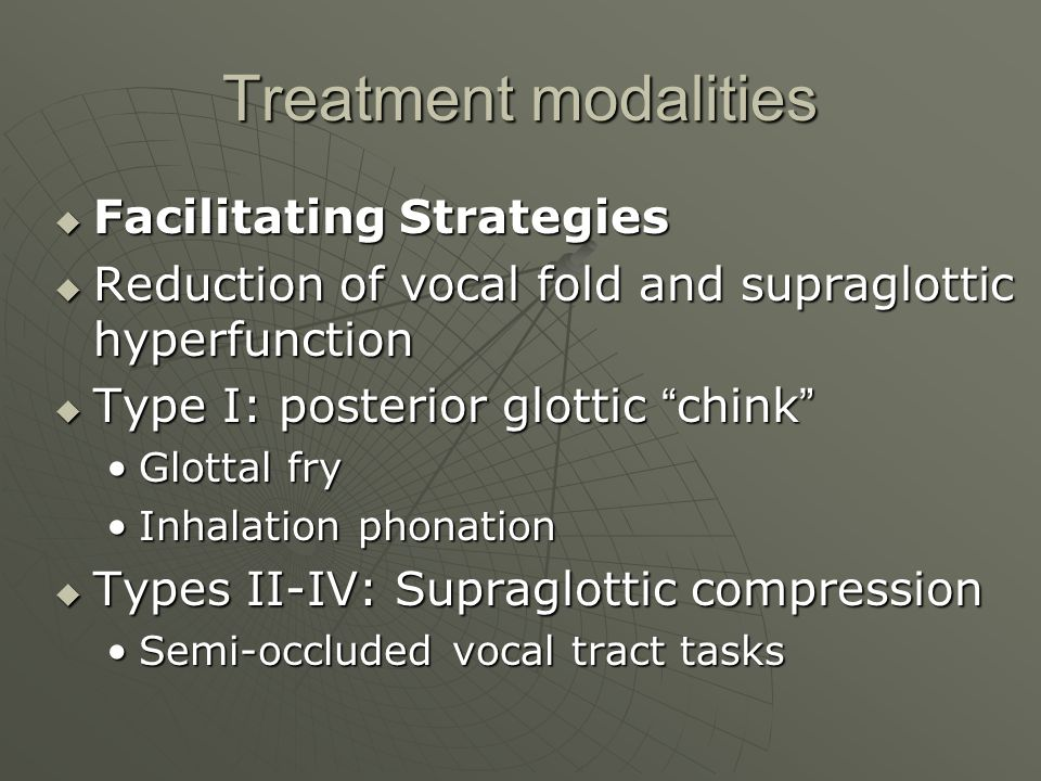 Treatment modalities Facilitating Strategies