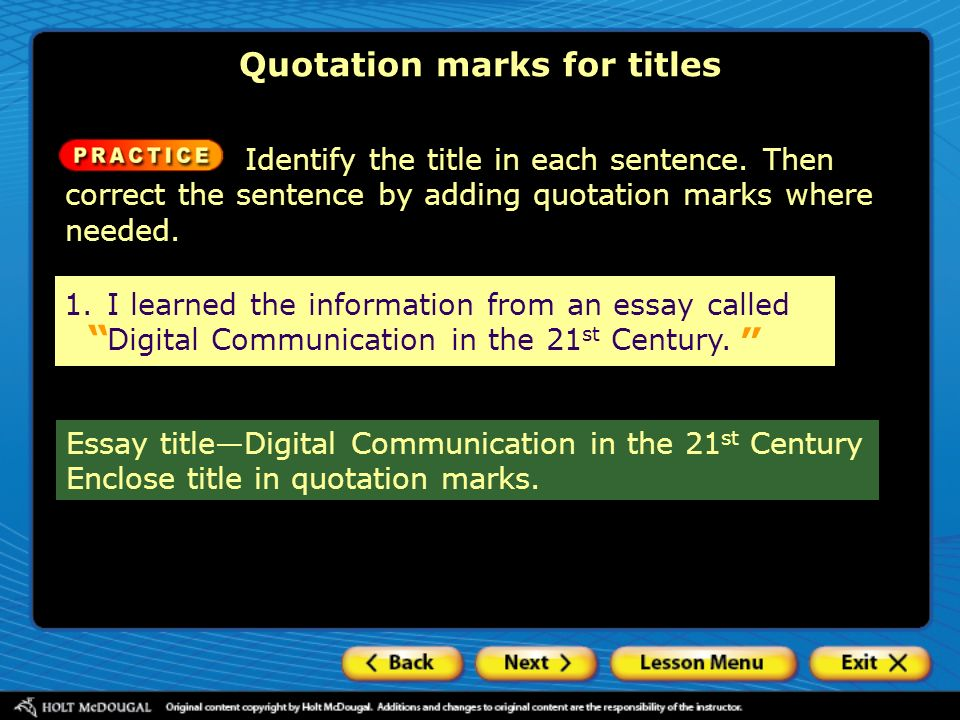 essay quotation marks Quotation marks and direct quotations the use of quotation marks, also called inverted commas, is very slightly complicated by the fact that there are two types: single quotes (` ') and double quotes.