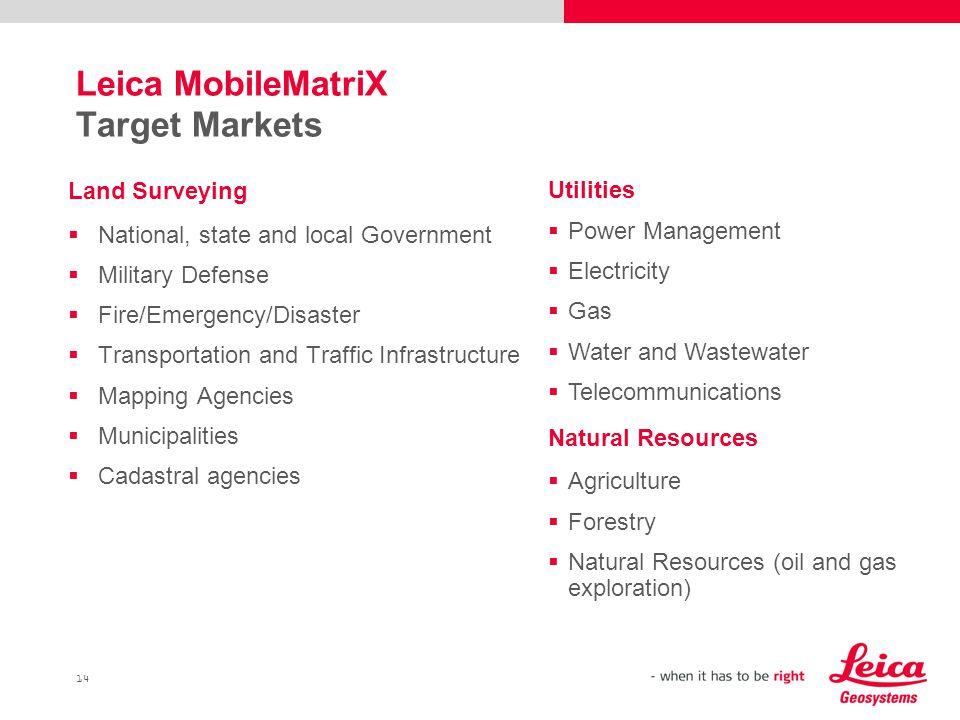 Leica MobileMatriX Target Markets
