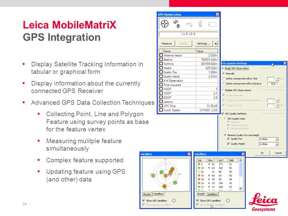 Leica MobileMatriX GPS Integration