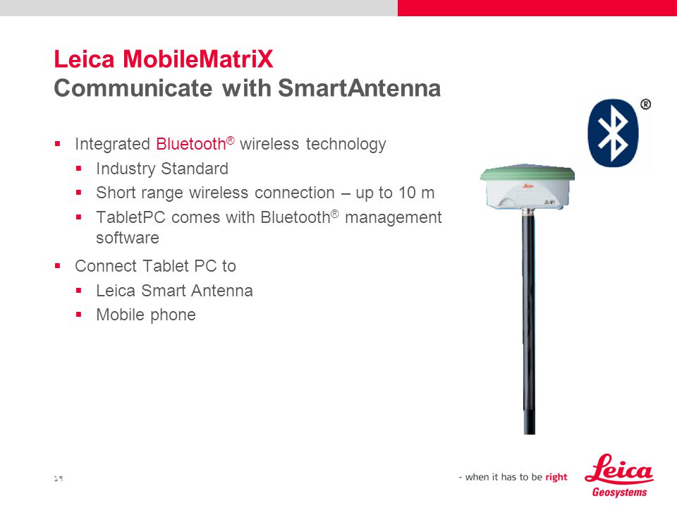 Leica MobileMatriX Communicate with SmartAntenna