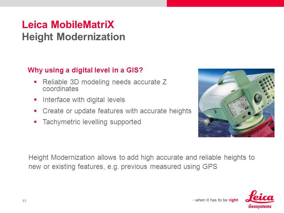 Leica MobileMatriX Height Modernization