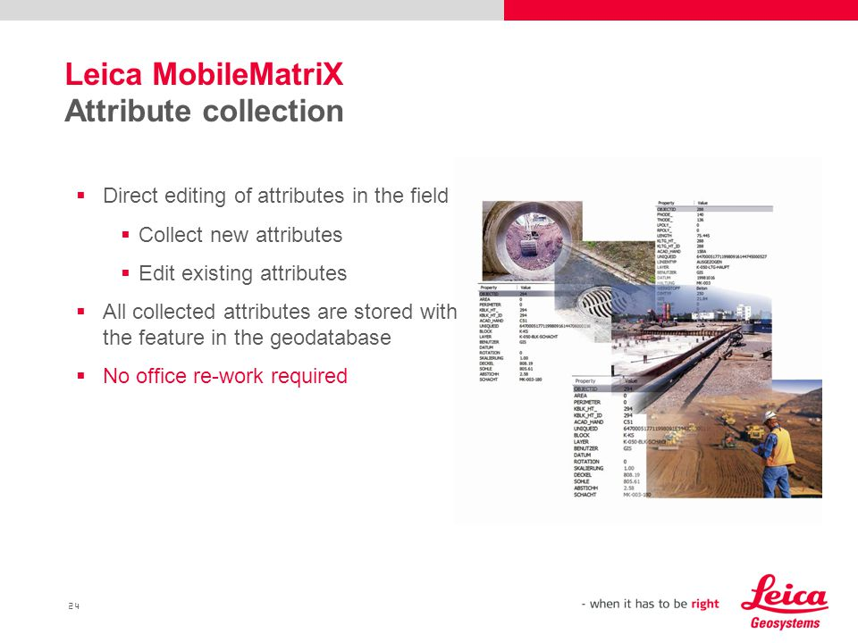 Leica MobileMatriX Attribute collection