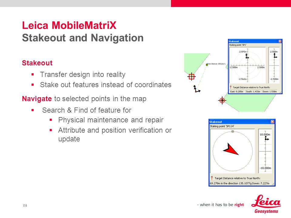Leica MobileMatriX Stakeout and Navigation