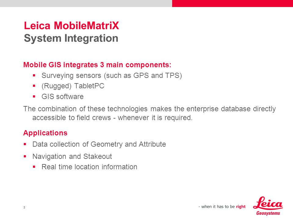 Leica MobileMatriX System Integration