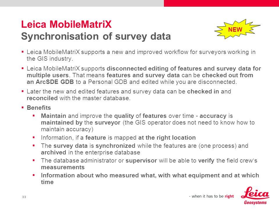 Leica MobileMatriX Synchronisation of survey data