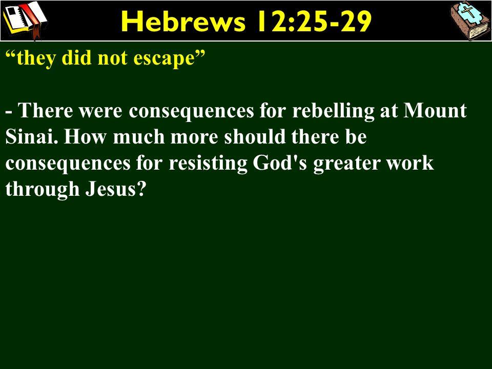 Hebrews 12:25-29 they did not escape