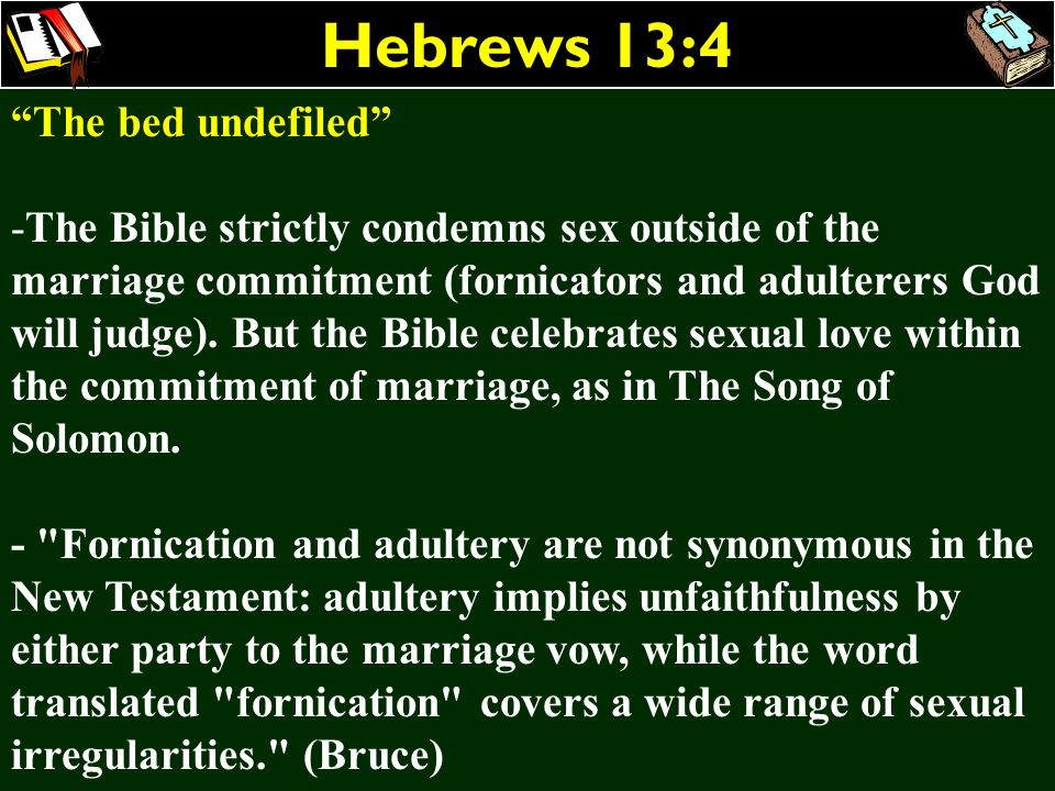 Hebrews 13:4 The bed undefiled