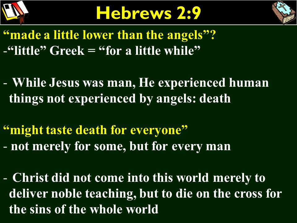 Hebrews 2:9 made a little lower than the angels