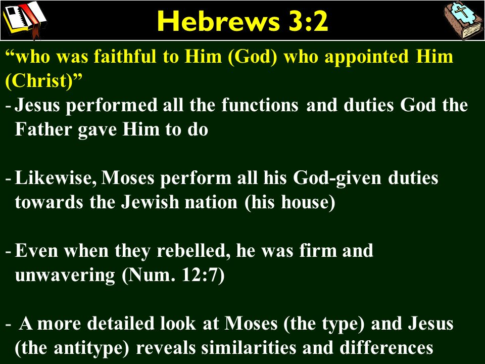 Hebrews 3:2 who was faithful to Him (God) who appointed Him (Christ)