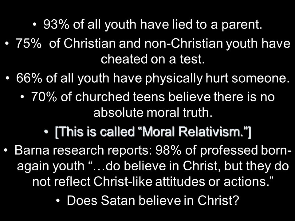 93% of all youth have lied to a parent.