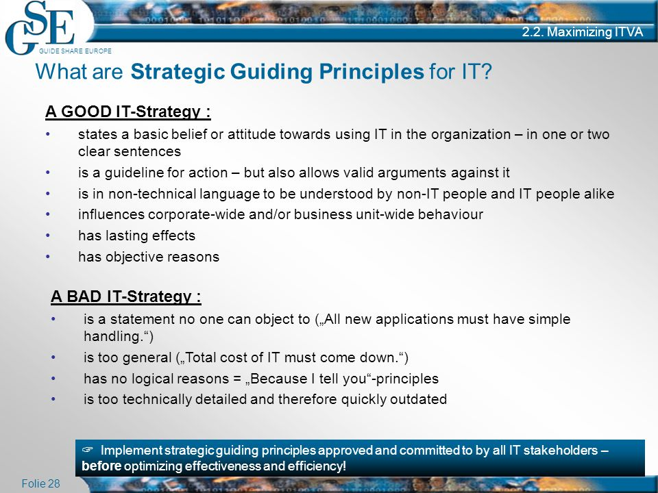 What are Strategic Guiding Principles for IT