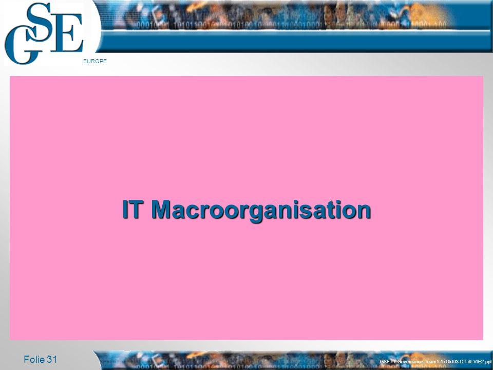 IT Macroorganisation GSE-IT Governance-Team1-17Okt03-DT-dt-VIE2.ppt